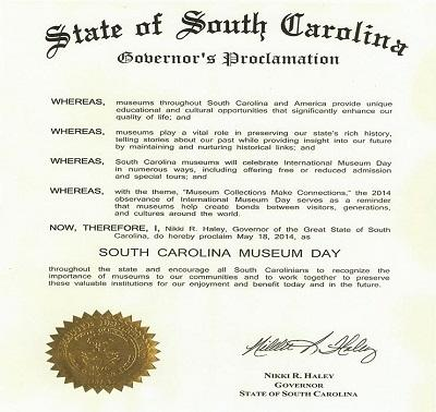 South Carolina Museum Day Proclaimed